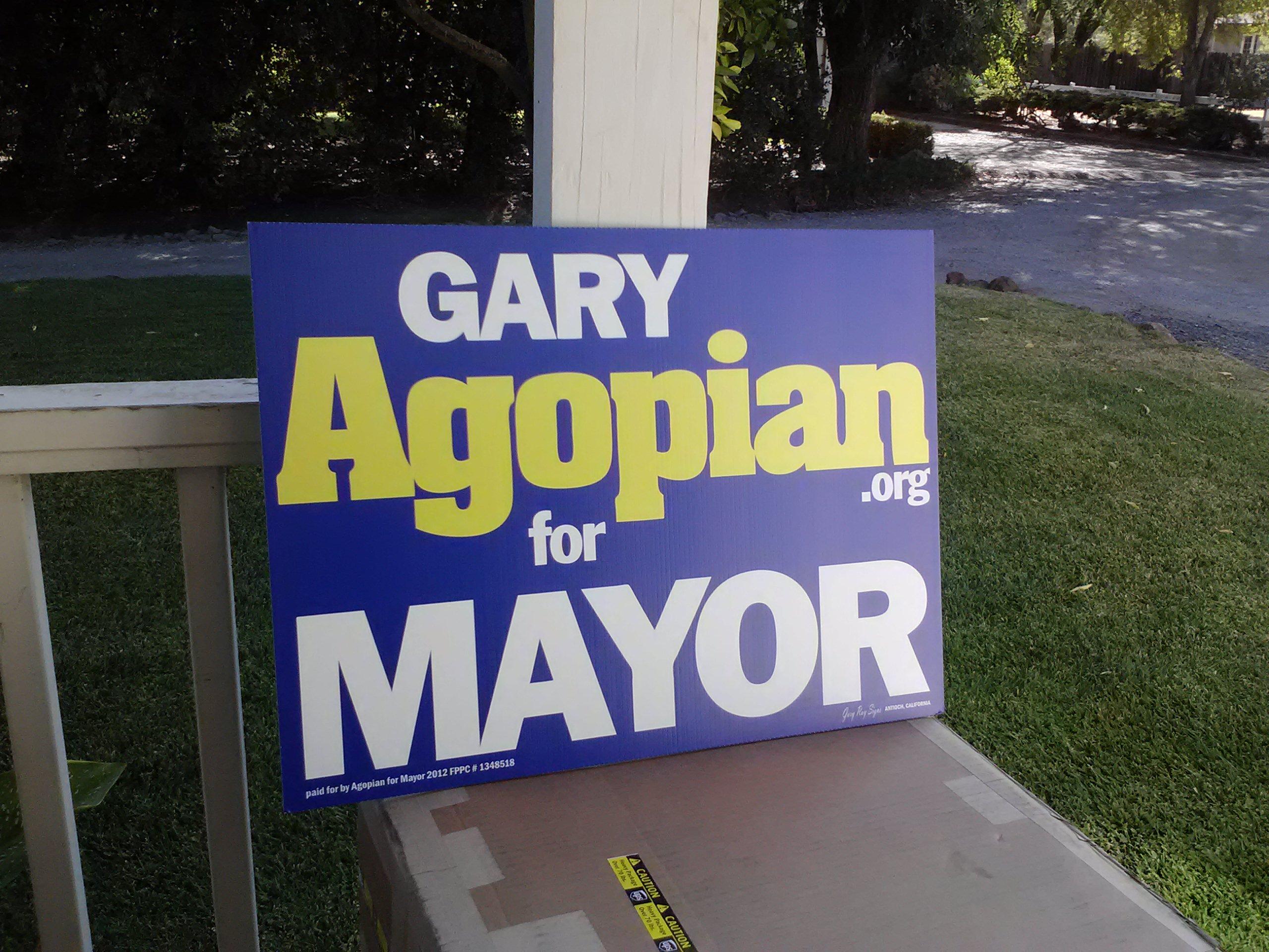 Gary Agopian Political sign